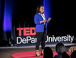 """Karli Butler, an activist, optimist and survivor, presents her talk, """"Reimagining Forgiveness,"""" at TEDxDePaulUniversity, Tuesday, May 1, 2018, in the Lincoln Park Student Center. TEDxDePaulUniversity is an independently run, self-organized event. Through the theme """"Reimagine"""" 11 diverse presenters provoked stimulating conversation on powerful topics that invited the audience to consider questions and subjects in a new light. (DePaul University/Jamie Moncrief)"""
