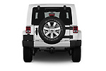 Straight rear view of 2017 JEEP Wrangler-Unlimited Sahara 5 Door SUV Rear View  stock images