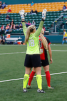 Rochester, NY - Saturday May 21, 2016: Western New York Flash forward Makenzy Doniak (3) and Sky Blue FC goalkeeper Caroline Stanley (18). The Western New York Flash defeated Sky Blue FC 5-2 during a regular season National Women's Soccer League (NWSL) match at Sahlen's Stadium.