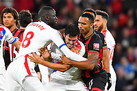 Cheikhou Kouyate of Crystal Palace and Callum Wilson of AFC Bournemouth restrain James Tomkins of Crystal Palace after an altercation with Simon Francis of AFC Bournemouth during AFC Bournemouth vs Crystal Palace, Premier League Football at the Vitality Stadium on 1st October 2018