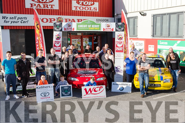 Launch<br /> ----------<br /> Organisers and supporters pictured  the launch of the up coming Circuit Of Kerry Stages rally, on April 2nd next,<br /> sponsored by the Rose hotel, Tralee in front of Top Part motor factors, Rock St Tralee last Saturday afternoon.