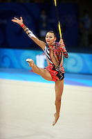 August 23, 2008; Beijing, China; Rhythmic gymnast Aliya Yussupova of Kazakhstan performs with rope on way placing 5th in All-Around final at 2008 Beijing Olympics..