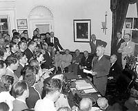 President Truman announces Japan's surrender, at the White House, Washington D.C., August 14, 1945.  Abbie Rowe. (National Park Service)