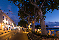Street scene at night,  Lahaina, Maui.