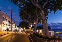 Street scene at night,  Lahaina, Maui.