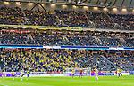 Solna 2015-09-08 Fotboll EM-kval , Sverige - &Ouml;sterrike :  <br /> Vy &ouml;ver Friends Arena med tomma stolar bredvid Sveriges supportrar sedan publik b&ouml;rjat l&auml;mna arenan under matchen mellan Sverige och &Ouml;sterrike <br /> (Photo: Kenta J&ouml;nsson) Keywords:  Sweden Sverige Solna Stockholm Friends Arena EM Kval EM-kval UEFA Euro European 2016 Qualifying Group Grupp G &Ouml;sterrike Austria inomhus interi&ouml;r interior supporter fans publik supporters