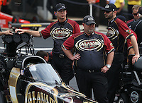 May 10, 2013; Commerce, GA, USA: NHRA crew members for top fuel dragster driver Khalid Albalooshi during qualifying for the Southern Nationals at Atlanta Dragway. Mandatory Credit: Mark J. Rebilas-