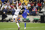 02 December 2011: Duke's Kaitlyn Kerr (5) and Wake Forest's Caralee Keppler (left). The Duke University Blue Devils defeated the Wake Forest University Demon Deacons 4-1 at KSU Soccer Stadium in Kennesaw, Georgia in an NCAA Division I Women's Soccer College Cup semifinal game.