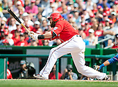 Washington Nationals right fielder Jayson Werth (28) grounds out to end the Nationals half of the seventh inning during the game against the New York Mets at Nationals Park in Washington, DC on Sunday, May 18, 2014.  The Nationals won the game 6 - 3.<br /> Credit: Ron Sachs / CNP<br /> (RESTRICTION: NO New York or New Jersey Newspapers or newspapers within a 75 mile radius of New York City)