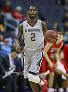 Washington, DC - March 10, 2018: St. Bonaventure Bonnies guard Matt Mobley (2) in action during the Atlantic 10 semi final game between St. Bonaventure and Davidson at  Capital One Arena in Washington, DC.   (Photo by Elliott Brown/Media Images International)