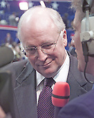 Former United States Secretary of Defense Dick Cheney is interviewed at the Republican National Convention at the First Union Center in Philadelphia, Pennsylvania on July 31, 2000.<br /> Credit: Ron Sachs - CNP