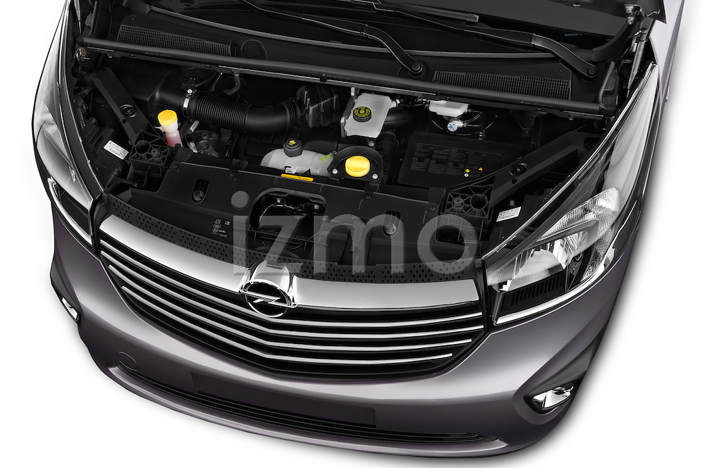 Car Stock 2015 Opel Vivaro Sportive 4 Door Combi 2WD Engine high angle detail view