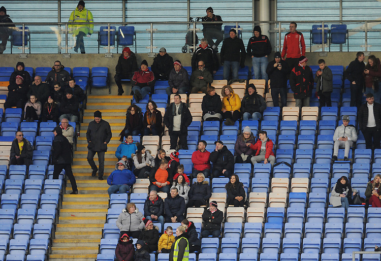 Fleetwood Town fans watch their team in action <br /> <br /> Photographer Kevin Barnes/CameraSport<br /> <br /> The EFL Sky Bet League One - Shrewsbury Town v Fleetwood Town - Tuesday 1st January 2019 - New Meadow - Shrewsbury<br /> <br /> World Copyright © 2019 CameraSport. All rights reserved. 43 Linden Ave. Countesthorpe. Leicester. England. LE8 5PG - Tel: +44 (0) 116 277 4147 - admin@camerasport.com - www.camerasport.com