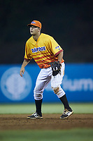 Los Rapidos de Kannapolis first baseman Justin Yurchak (33) on defense against the West Virginia Power at Kannapolis Intimidators Stadium on July 25, 2018 in Kannapolis, North Carolina. The Los Rapidos defeated the Power 8-7 in game two of a double-header. (Brian Westerholt/Four Seam Images)