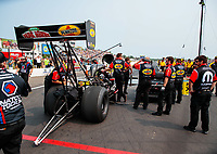 Aug 17, 2018; Brainerd, MN, USA; Crew members for NHRA top fuel driver Leah Pritchett during qualifying for the Lucas Oil Nationals at Brainerd International Raceway. Mandatory Credit: Mark J. Rebilas-USA TODAY Sports