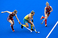 2nd February 2020; Sydney Olympic Park, Sydney, New South Wales, Australia; Womens International FIH Field Hockey, Australia versus Great Britain Women;Ellie Rayer of Great Britain runs with Greta Hayes of Australia