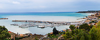 Panoramic photo of the fishing harbour in the fishing town of Sciacca, Agrigento Province, Sicily, Italy, Europe. This is a panoramic photo of the fishing harbour in the fishing town of Sciacca, Agrigento Province, Sicily, Italy, Europe.