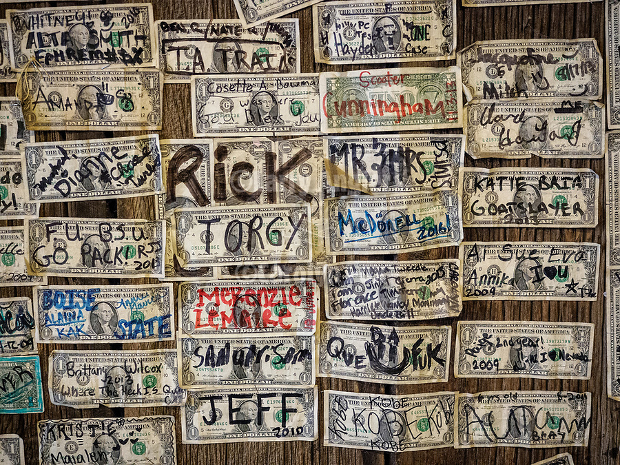 Dollars with names cover the walls of the Paradise Valley Bar and Grill, Nevada