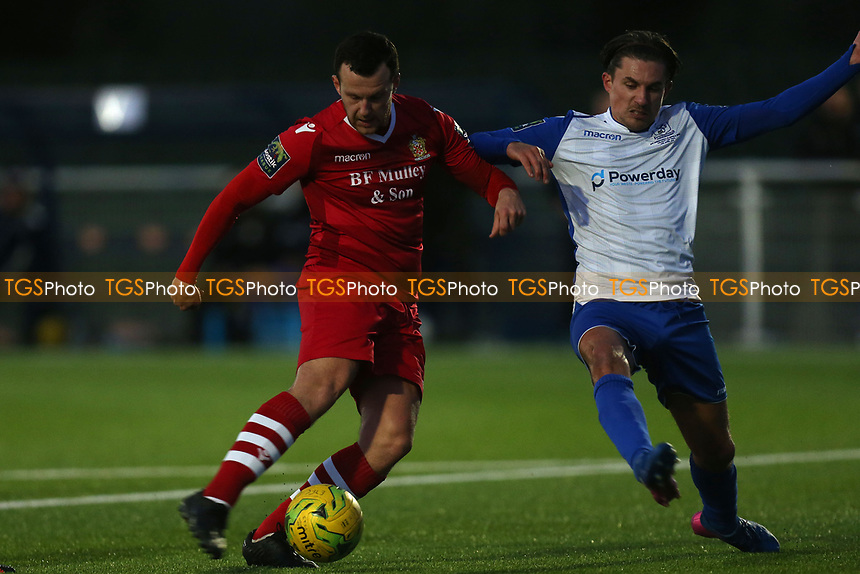 Sam Youngs of Enfield Town and Jordan Clark of AFC Hornchurch during AFC Hornchurch vs Enfield Town, Velocity Trophy Final Football at Parkside on 10th April 2019