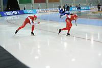 SPEEDSKATING: SALT LAKE CITY: 08-12-2017, Utah Olympic Oval, ISU World Cup, 500m Men B-Division, Piotr Michalski (POL), Artur Nogal (POL),  ©photo Martin de Jong