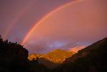 Double-Rainbow over the mountain at sundown, San Juan Mountains, Umcompahgre National Forest, Colorado