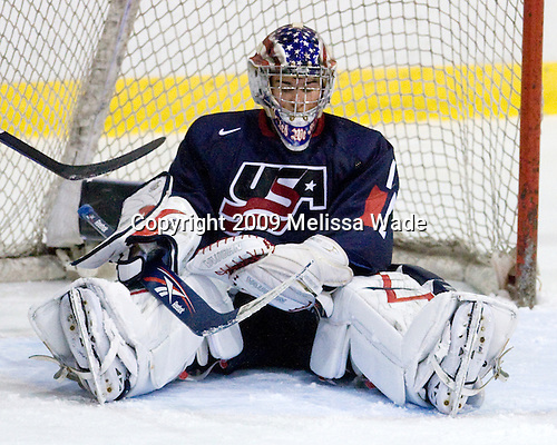Jack Campbell (US - 1) - Team USA defeated Team Russia 6-1 in their second game during the 2009 USA Hockey National Junior Evaluation Camp on Wednesday, August 12, 2009, in the USA (NHL-sized) Rink in Lake Placid, New York.