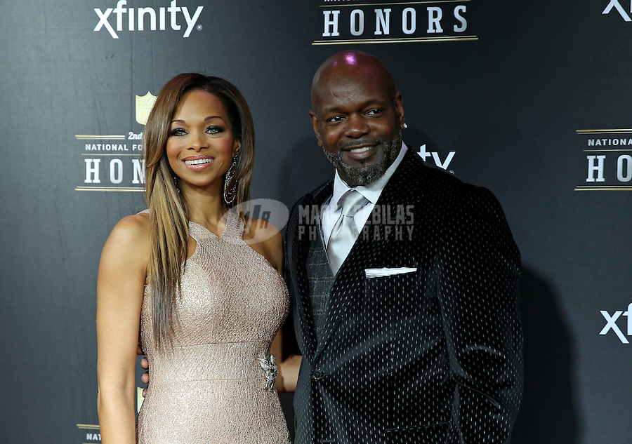 Feb. 2, 2013; New Orleans, LA, USA: Dallas Cowboys former running back Emmitt Smith (right) with wife Patricia Southall on the red carpet prior to the Super Bowl XLVII NFL Honors award show at Mahalia Jackson Theater. Mandatory Credit: Mark J. Rebilas-USA TODAY Sports