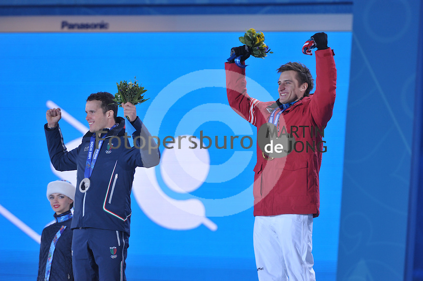 OLYMPICS: SOCHI: Medal Plaza, 09-02-2014, Alpine Skiing, Men's Downhill, Christof Innerhofer (ITA), Matthias Mayer (AUT), ©photo Martin de Jong