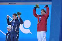 OLYMPICS: SOCHI: Medal Plaza, 09-02-2014, Alpine Skiing, Men's Downhill, Christof Innerhofer (ITA), Matthias Mayer (AUT), ©photo Martin de Jong
