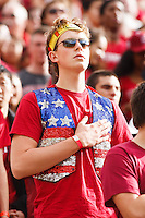 Berkeley- November 22, 2014: Fan at start of the Stanford vs Cal at Memorial Stadium in Berkeley Saturday afternoon<br /> <br /> The Cardinal defeated the Bears 38 - 17