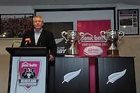 NZRU chief executive Steve Tew addresses the Pink Batts Heartland Championship 2013 season launch at Waikanae RFC, Waikanae, New Zealand on Tuesday, 13 August 2013. Photo: Dave Lintott / lintottphoto.co.nz