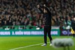 08.03.2019, Weserstadion, Bremen, GER, 1.FBL, Werder Bremen vs FC Schalke 04<br /> <br /> DFL REGULATIONS PROHIBIT ANY USE OF PHOTOGRAPHS AS IMAGE SEQUENCES AND/OR QUASI-VIDEO.<br /> <br /> im Bild / picture shows<br /> Domenico Tedesco (Trainer FC Schalke 04) mit nach oben gestreckten F&auml;usten in Coachingzone / an Seitenlinie, <br /> <br /> Foto &copy; nordphoto / Ewert