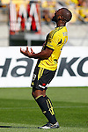 Phoenix's Roly Bonevacia reacts after missing a shot against the Brisbane Roar in the A-League football match at Westpac Stadium, Wellington, New Zealand, Sunday, January 04, 2015. Credit: Dean Pemberton