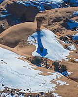 The Secret Spire and winter shadow, Green River rims, near Moab, Utah
