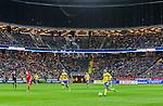 Solna 2015-10-12 Fotboll EM-kval , Sverige - Moldavien :  <br /> Vy &ouml;ver Friends Arena med publik p&aring; l&auml;ktarna och &ouml;vre etage t&auml;ckt med ett frappera under matchen mellan Sverige och Moldavien <br /> (Photo: Kenta J&ouml;nsson) Keywords:  Sweden Sverige Solna Stockholm Friends Arena EM Kval EM-kval UEFA Euro European 2016 Qualifying Group Grupp G Moldavien Moldova inomhus interi&ouml;r interior supporter fans publik supporters