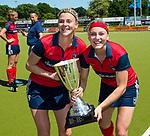 NIJMEGEN -  Lara Kok (Huizen) met rechts Grace Huberts (Huizen)   na   de tweede play-off wedstrijd dames, Nijmegen-Huizen (1-4), voor promotie naar de hoofdklasse.. Huizen promoveert naar de hoofdklasse.  COPYRIGHT KOEN SUYK