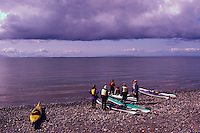 Kayakers on Beach at Semiahoo Bay / Pacific Ocean, White Rock, BC, British Columbia, Canada