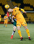 29.03.2019 Livingston v Hibs: Alan Lithgow collects a boot froim Marc McNulty