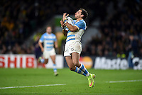 Joaquin Tuculet of Argentina catches the ball in the air. Rugby World Cup Semi Final between Argentina v Australia on October 25, 2015 at Twickenham Stadium in London, England. Photo by: Patrick Khachfe / Onside Images