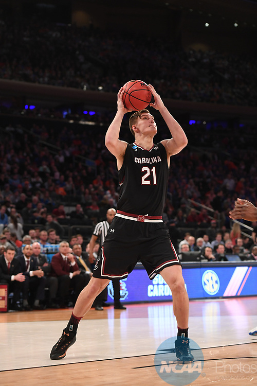 NEW YORK, NY - MARCH 26:  Maik Kotsar #21 of the South Carolina Gamecocks during a game against the Florida Gators during the 2017 NCAA Men's Basketball Tournament held at Madison Square Garden on March 26, 2017 in New York City. (Photo by Justin Tafoya/NCAA Photos via Getty Images)