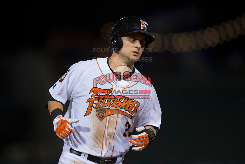 Fresno Grizzlies third baseman JD Davis (21) rounds third base on a Tim Federowicz (not pictured) home run during a Pacific Coast League game against the Salt Lake Bees at Chukchansi Park on May 14, 2018 in Fresno, California. Fresno defeated Salt Lake 4-3. (Zachary Lucy/Four Seam Images)