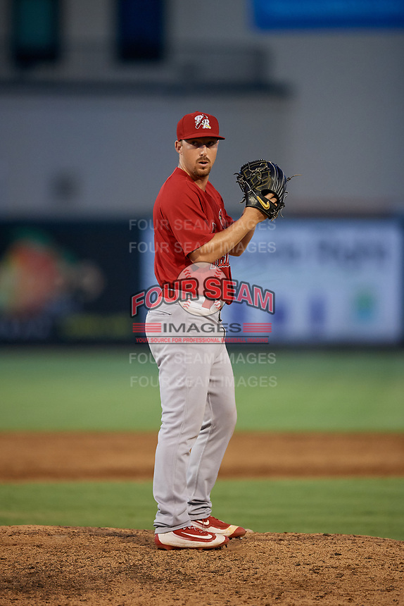 Palm Beach Cardinals relief pitcher Colton Thomson (37) gets ready to deliver a pitch during a game against the Jupiter Hammerheads on August 4, 2018 at Roger Dean Chevrolet Stadium in Jupiter, Florida.  Palm Beach defeated Jupiter 7-6.  (Mike Janes/Four Seam Images)