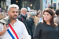 September 23 2017, Paris, France - Demonstration against the Reform of Labour Law led by the French politician Jean-Luc Melenchon Leader of 'La France Insoumise'. Alexis Corbiere spokesman of Melenchon with his wife Raquel Garrido were present. # MANIFESTATION CONTRE LA LOI TRAVAIL EN FRANCE