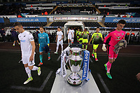 Pictured: Team captains Keston Davies of Swansea City (L) and George Legg of Reading (R) lead their team mates out Monday 15 May 2017<br />