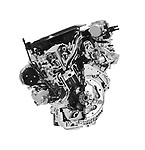 Stylized photo illustration pf a Cross section of 2017 Buick Lacrosse 3.6L V6 VVT DI 310HP car engine showing the cylinder, piston and valves isolated with clipping path on white background Image © MaximImages, License at https://www.maximimages.com