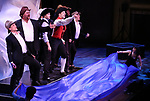 "Kevin Kern, John Treacy Egan, Corey Cott, Tony Yazbeck, Chris Dwan, Alex Newell and cast performing during the MCP Production of ""The Scarlet Pimpernel"" Concert at the David Geffen Hall on February 18, 2019 in New York City."