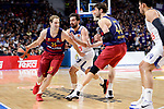 Real Madrid's Sergio Llull and FC Barcelona Lassa's Petteri Koponen and Ante Tomic during Turkish Airlines Euroleague match between Real Madrid and FC Barcelona Lassa at Wizink Center in Madrid, Spain. March 22, 2017. (ALTERPHOTOS/BorjaB.Hojas)