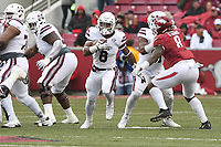 NWA Democrat-Gazette/J.T. WAMPLER Mississippi State's Kylin Hill looks for running room Saturday Nov. 18, 2017 at Donald W. Reynolds Razorback Stadium in Fayetteville. Arkansas lost 21-28.