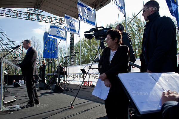 OSWIECIM, POLAND, APRIL 24, 2017:<br /> Elisha Wiesel is giving a speech after lighting a torch in the memory of his father Eli Wiesel, during the &quot;March of The Living&quot; an annual march between two camps of the Auschwitz concentration camp.  Elisha Wiesel is a chief technology officer at Goldman Sachs in New York and the only son of Holocaust memoirist Eli Wiesel. After death of his father he has decided to step forward and take a more public role, carrying on his father's work.<br /> (Photo by Piotr Malecki / Napo Images)<br /> ###<br /> OSWIECIM, 24/04/2017:<br /> Elisha Wiesel, syn slawnego Eli Wiesela, bierze udzial w Marszu Zywych w Oswiecimiu. Po smierci ojca Elisha postanowil kontynuoawc jego dzielo.<br /> Fot: Piotr Malecki / Napo Images<br /> <br /> ###ZDJECIE MOZE BYC UZYTE W KONTEKSCIE NIEOBRAZAJACYM OSOB PRZEDSTAWIONYCH NA FOTOGRAFII###