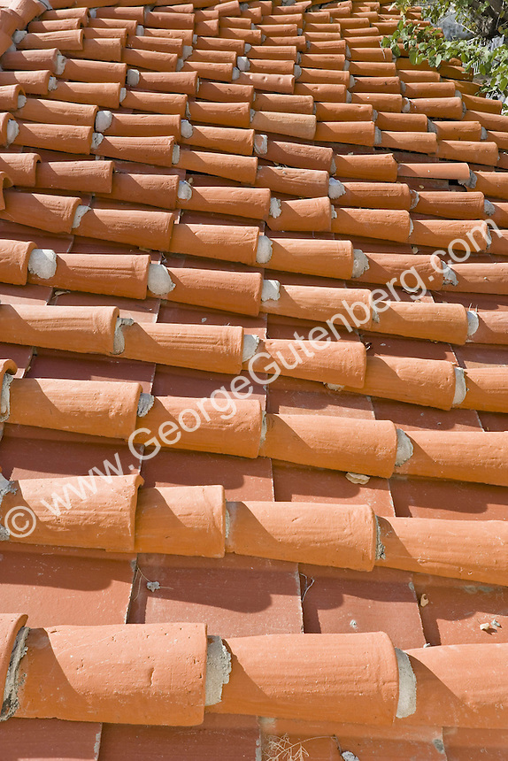 Detail of hand-made roof tiles from the 1930's